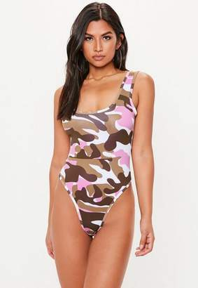 Missguided Pink Camo Swimsuit