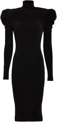 Alexandre Vauthier Puff Shoulder Turtleneck Midi Dress