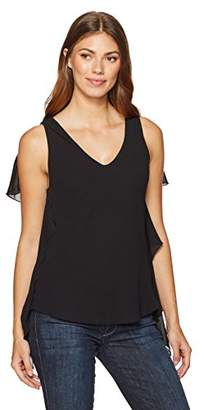 Max Studio Women's Solid Blouse with Ruffle Detail at Sides