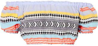 Lemlem Sofia Off-the-shoulder Striped Cotton And Wool-blend Gauze Top - Sky blue