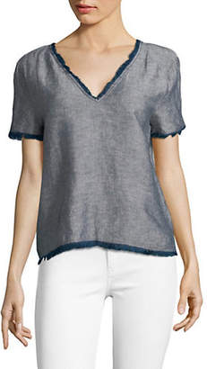 HIGHLINE COLLECTIVE Chambray Fraying V-Neck Top