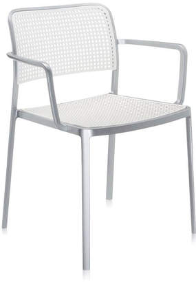Kartell Audrey Chair With Arms - Aluminium/White