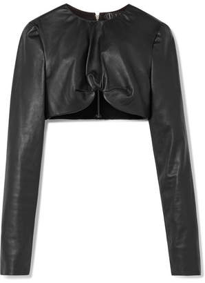 TRE - Cropped Leather Top - Black