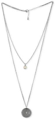 Rachel Roy Silver-Tone White Stone & Etched Disc Double-Row Pendant Necklace