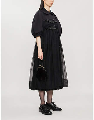 Simone Rocha Puffed-sleeve jersey and tulle coat