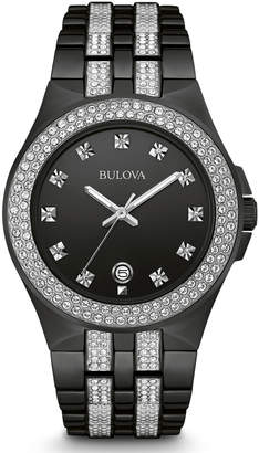 Bulova 42mm Men's Crystal Bezel Bracelet Watch, Black
