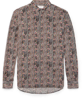 Saint Laurent Grandad-Collar Printed Silk Crepe De Chine Shirt