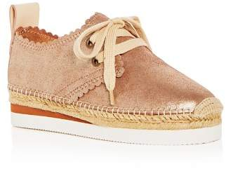 See by Chloe Women's Scalloped Leather Lace Up Platform Espadrille Flats