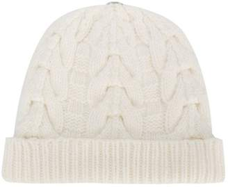 N.Peal pom-pom cable knit beanie hat