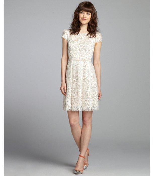 ABS by Allen Schwartz cream and nude lace short sleeve eyelash trim dress