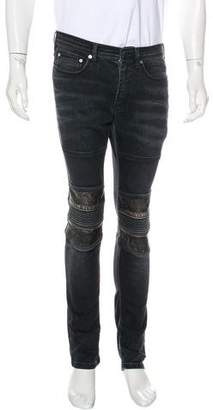 Neil Barrett Leather-Trimmed Moto Skinny Jeans