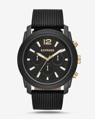 Express Rivington Black Textured Leather Band Multi-Function Watch