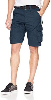 WT02 Men's Belted Mini Canvas Cargo Shorts