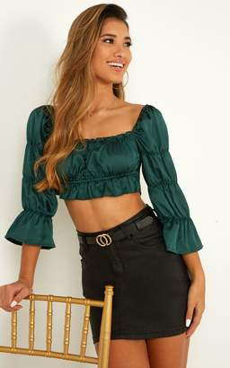 Showpo Staying Up Late top in emerald satin - 6 (XS) Long Sleeve Tops