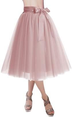 Omelas Women Girls Short Midi Tulle Tutu Skirt A-line Ballet Party Dress