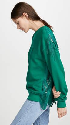 pushBUTTON Fringe Back Sweatshirt