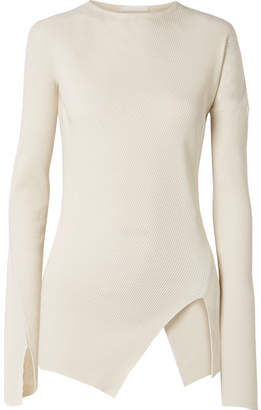 Helmut Lang Asymmetric Ribbed Cotton Top - Cream