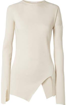 Helmut Lang Asymmetric Ribbed Cotton Top - Cream