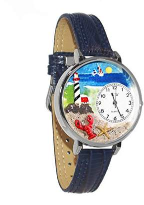 Whimsical Watches Unisex U1210013 Lighthouse Navy Blue Leather Watch