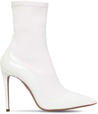 Aquazzura 105mm Latex & Patent Leather Ankle Boots