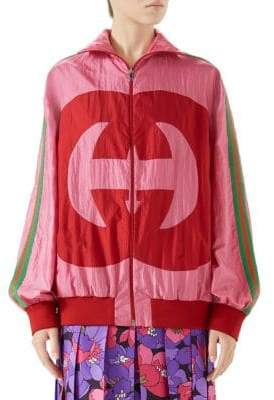Gucci Women's Long-Sleeve Oversize GG Zip-Up Jacket - Pink - Size Small