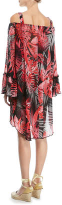 Fuzzi Off-the-Shoulder Printed Tulle Coverup Tunic
