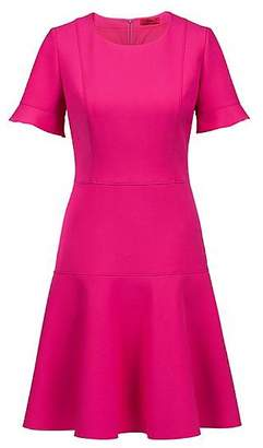 HUGO BOSS Short-sleeved dress in stretch fabric with flared skirt