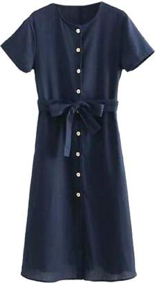 Goodnight Macaroon 'Leandra' Navy Blue Button Front Waist Tied Midi Dress