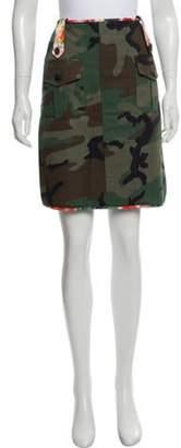Harvey Faircloth Camo Knee-Length Skirt Green Camo Knee-Length Skirt