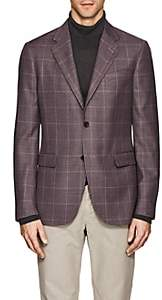 Barneys New York MEN'S PLAID WOOL-SILK TWO-BUTTON SPORTCOAT-PURPLE SIZE 40 R