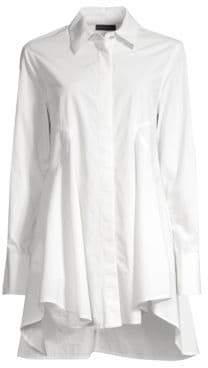 Donna Karan Women's Flared High-Low Button-Down Shirt - White - Size XL