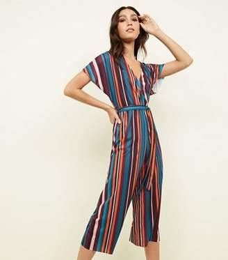 8370403dedf New Look Multi Coloured Stripe Ribbed Wrap Front Jumpsuit