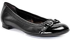 Attilio Giusti Leombruni D558034 - Black Leather Buckle Ballet Flat