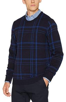Gant Men's Check Crew Sweater Jumper, (Evening Blue), Medium (Size: M)