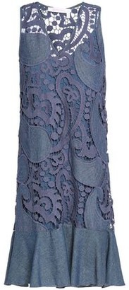 See by Chloe Cotton-Blend Guipure Lace And Chambray Mini Dress