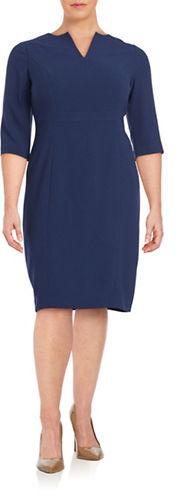 Adrianna PapellAdrianna Papell Plus Textured Crepe Three Quarter Sleeve Sheath Dress