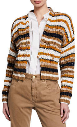 Brunello Cucinelli Paillettes Striped Short Cardigan