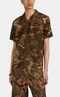 Ralph Lauren RRL Men's Hawaiian-Print Linen-Blend Short-Sleeve Shirt - Olive