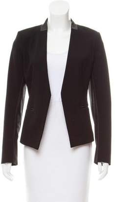 Theory Leather-Trimmed Open Front Blazer