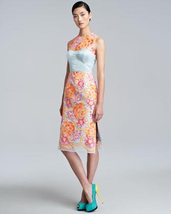Erdem Floral-Embroidered Sheath Dress, Neon Peach/Blue