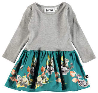 Molo Candi Squirrel-Print Long-Sleeve Dress, Size 6-24 Months