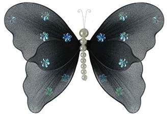 Isabella Collection The Butterfly Grove Pearl Butterfly Decoration 3D Hanging Mesh Organza Nylon Decor
