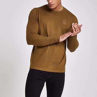River Island Green 'R96' slim fit crew neck sweater