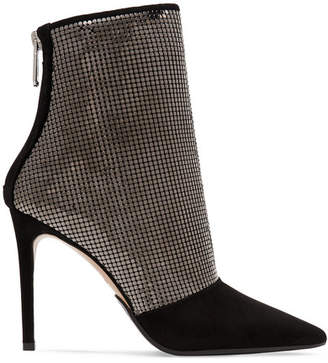 Balmain Chainmail-embellished Suede Ankle Boots - Gunmetal