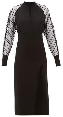 Balmain High Neck Polka Dot Sleeve Crepe Dress - Womens - Black