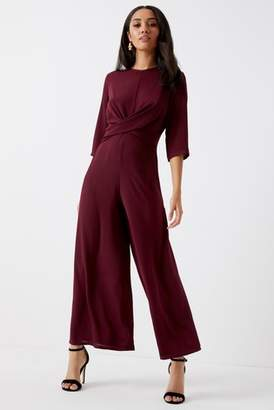Next Womens Boohoo Petite 3/4 Sleeve Wide Leg Twist Front Jumpsuit