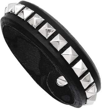 Steel By Design Stainless Steel Adjustable Black Leather Stud Bracelet