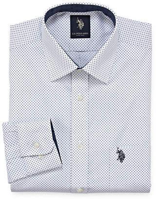 U.S. Polo Assn. USPA Dress Shirt Mens Spread Collar Long Sleeve Stretch Dress Shirt - Slim