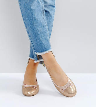 London Rebel Wide Fit Ballerina Pumps