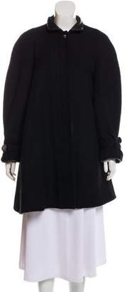 Chanel Leather-Accented Wool Coat